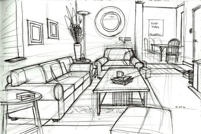 Drawn room pencil drawing One drawing perspective point Room