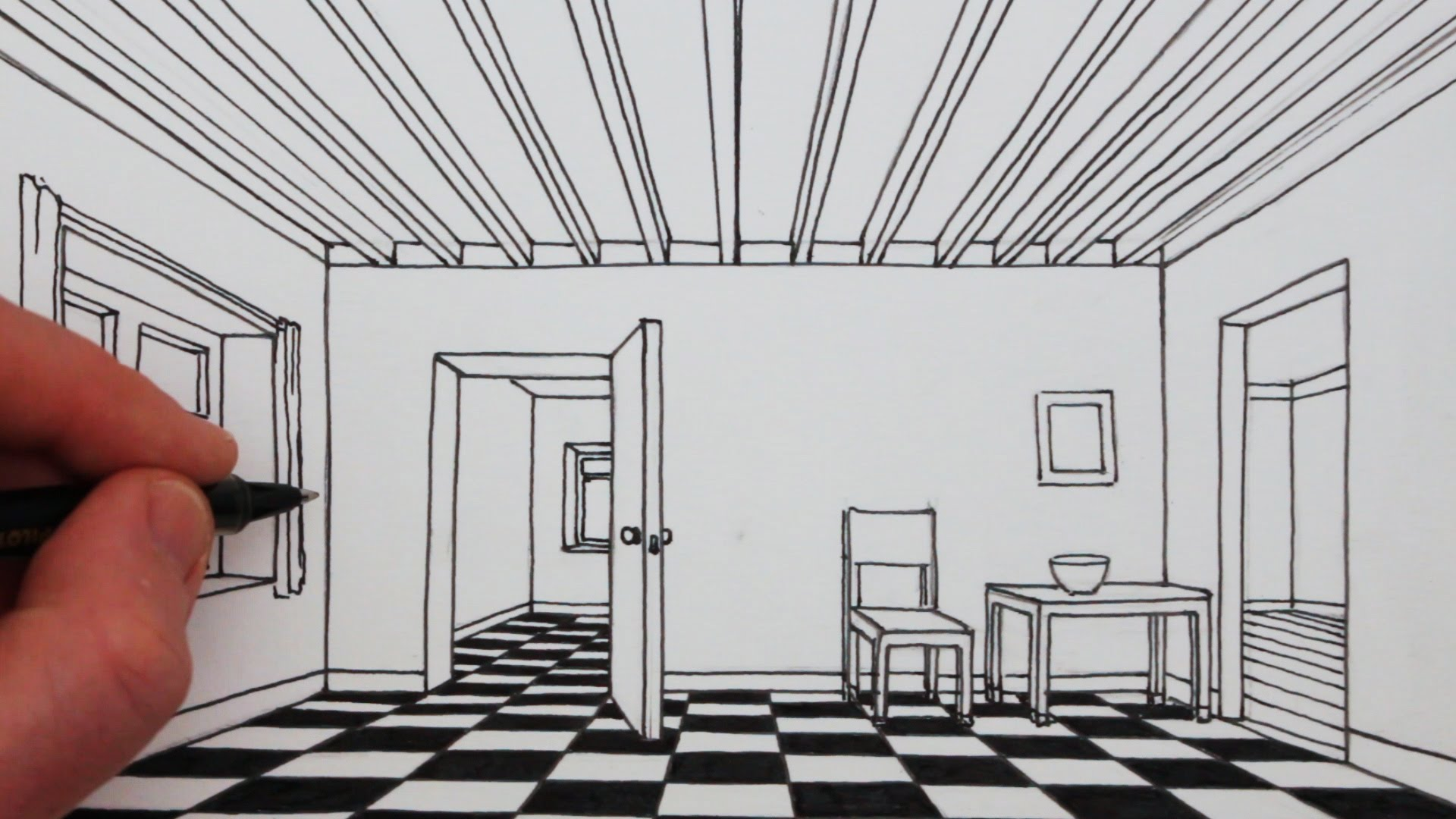 Drawn room pencil drawing Perspective: to a Room a
