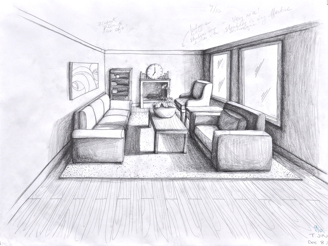Drawn room pencil drawing Point 05 room Interior perspective