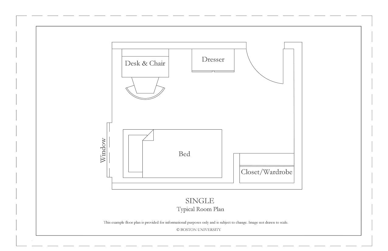 Drawn room single » Housing Boston Sample University