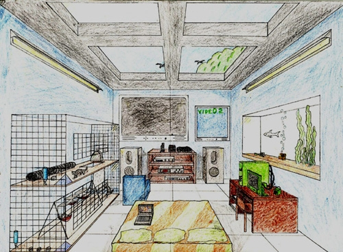 Drawn room single TO INTRO one Point Perspective: