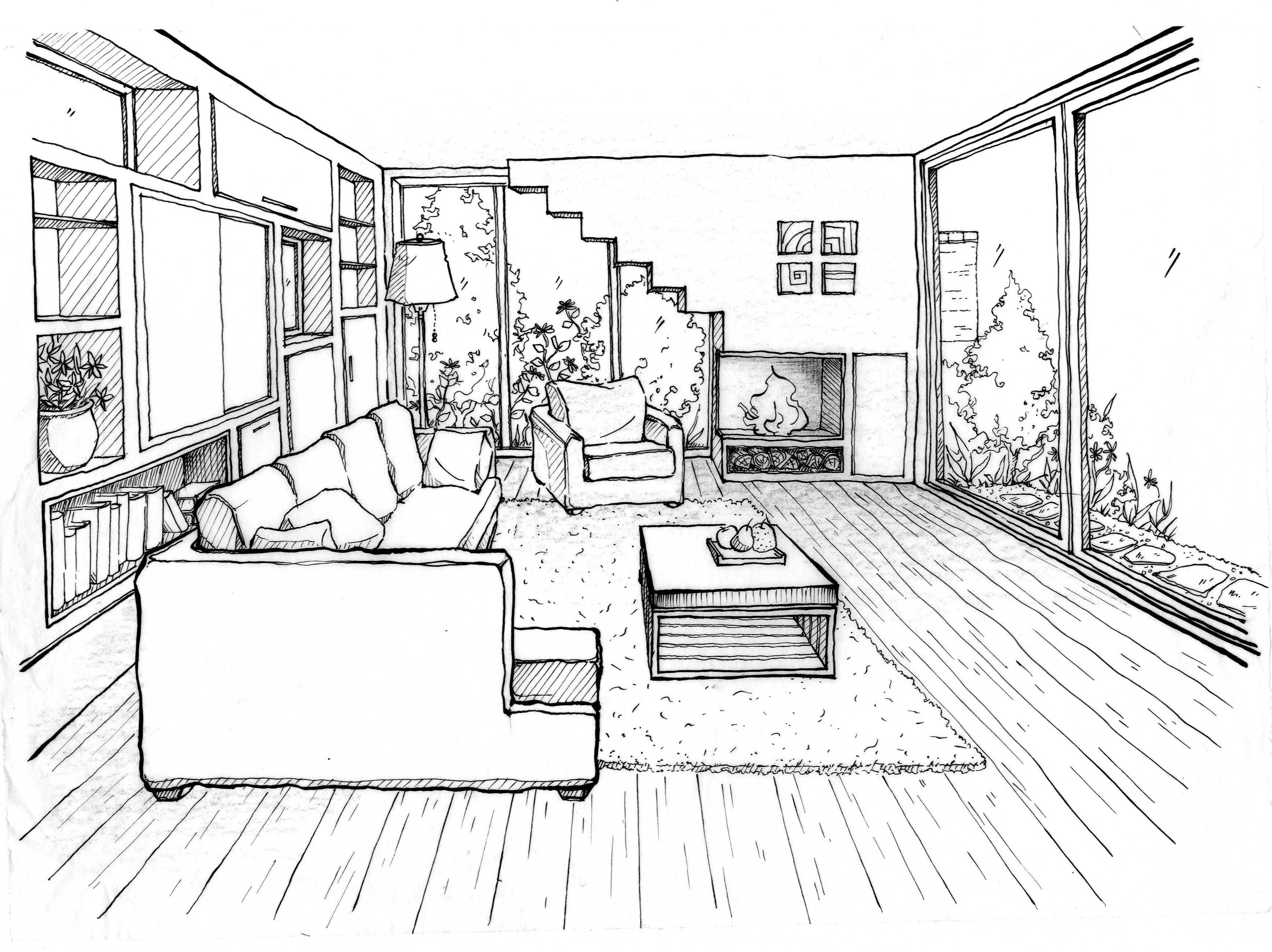 Drawn room single Interior Search Search reception perspective