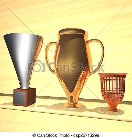 Drawn room trophy room Illustration 3d Trophy over Illustration