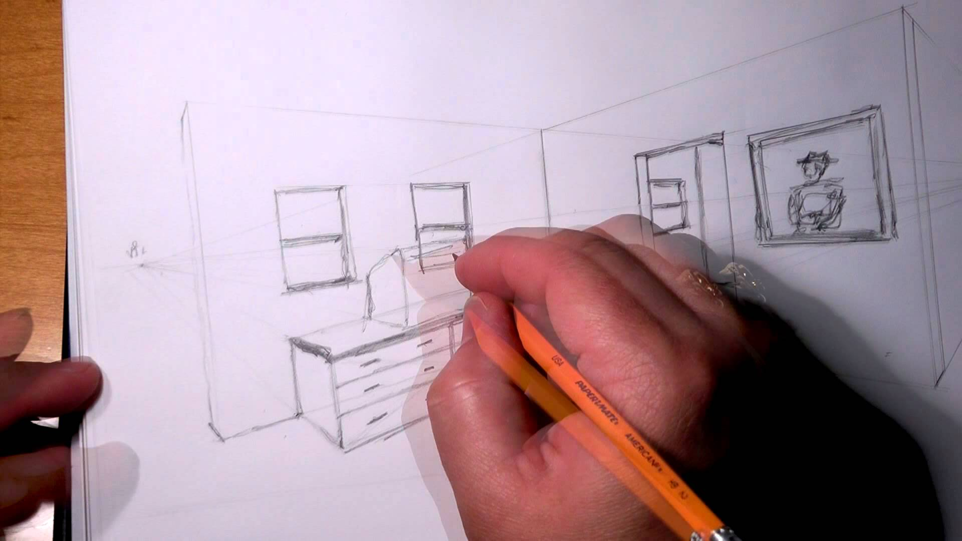 Drawn room two Perspective YouTube 2 Wireframe Wireframe