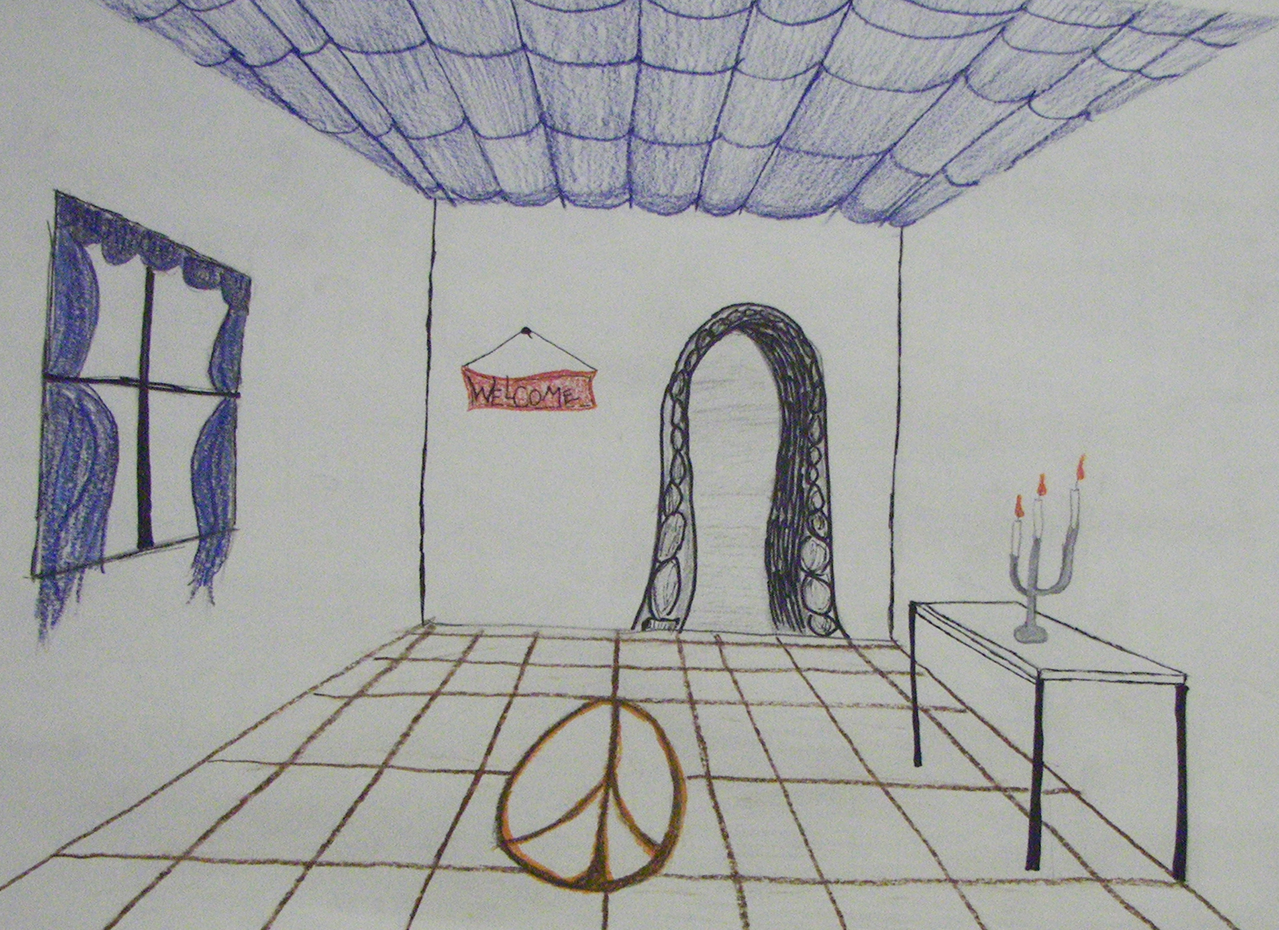 Drawn room line drawing Drawing vanishing Room single Room