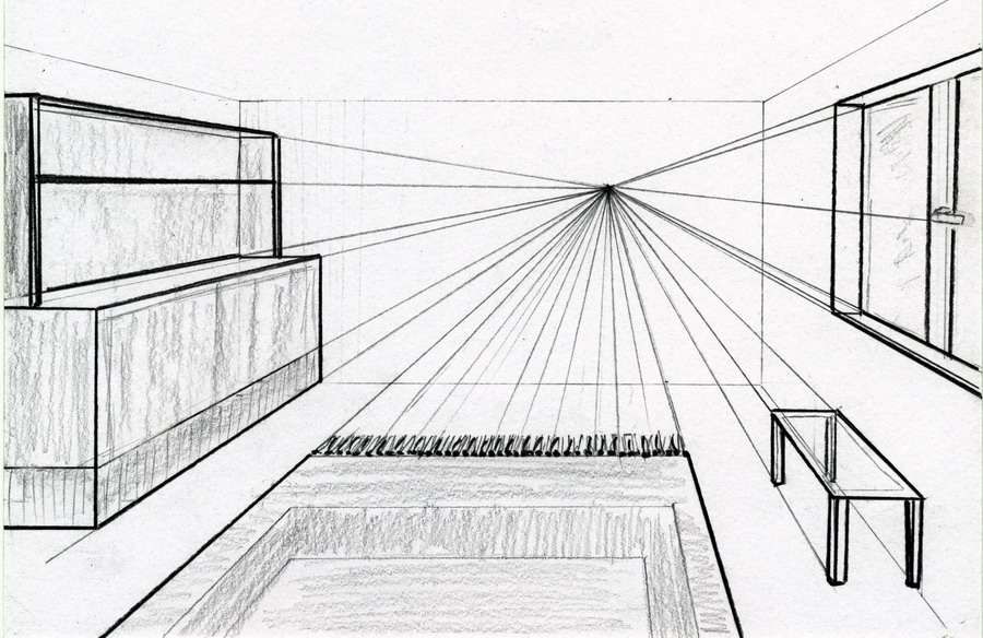 Drawn room vanishing point In vanishing Perspective Two only