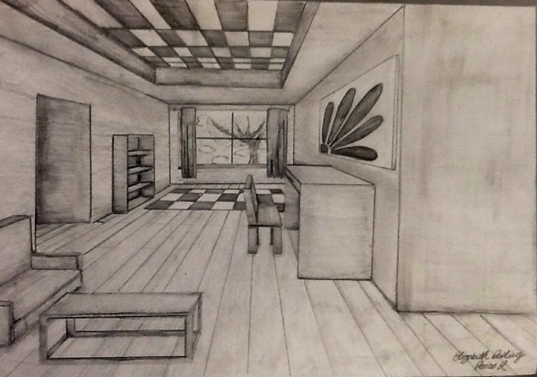 Drawn room vanishing point I Lines made create and