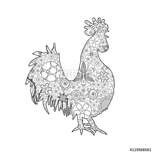 Drawn rooster abstract Outline doodle illustration  Decorative