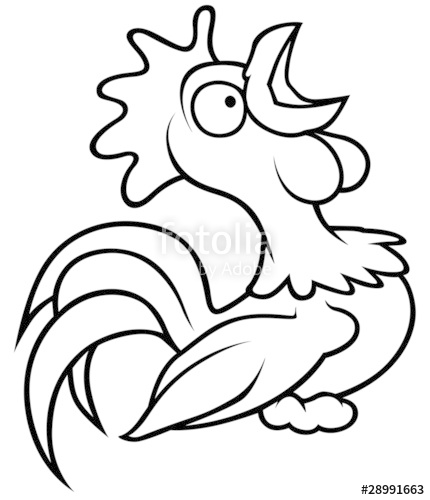 Drawn rooster cartoon black and white  Rooster White and Black