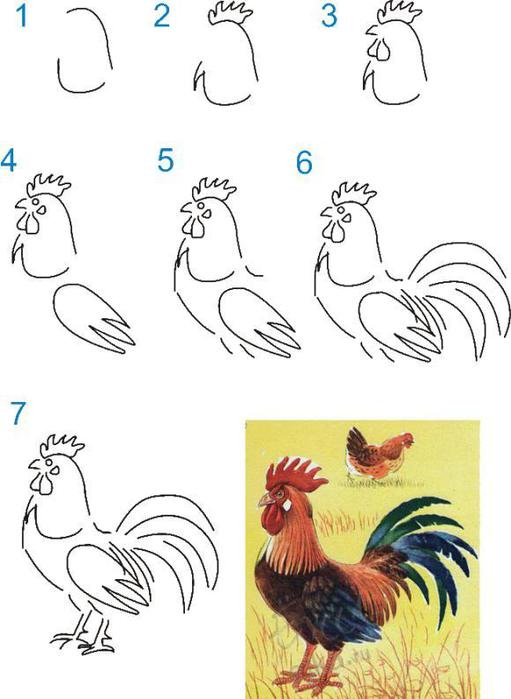 Drawn rooster cute #2