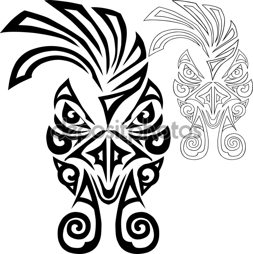 Drawn rooster face Vector drawn Stock #126504188 Maori