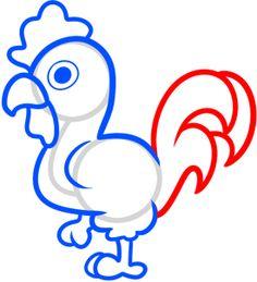 Drawn rooster kid Zeichnen How to Activities bunt