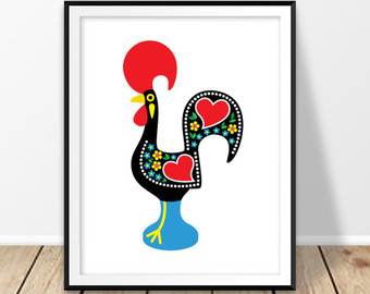 Drawn rooster portuguese rooster Barcelos Digital prints Portuguese Wall