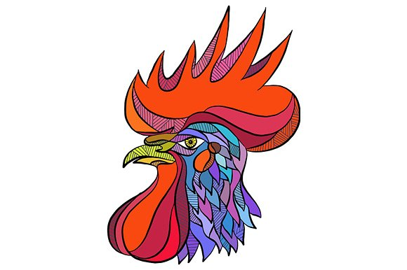 Drawn rooster rooster head Rooster on Head Drawing Chicken