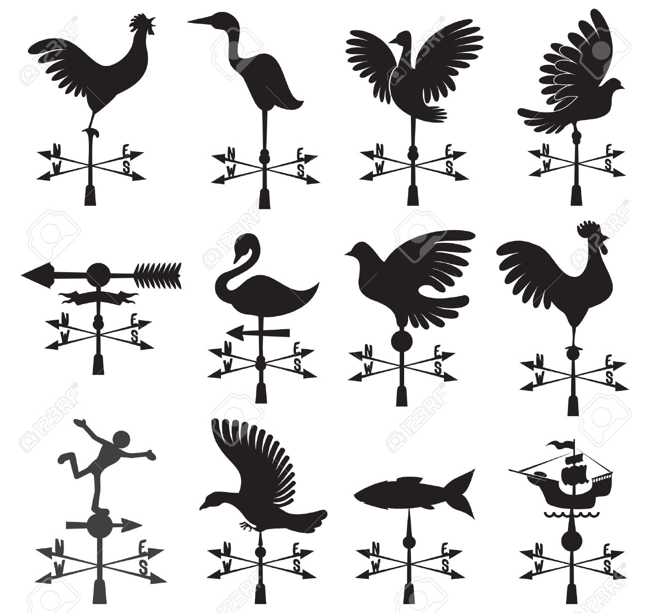 Drawn rooster rooster weathervane Sketch weathervanes decoration Roof Using