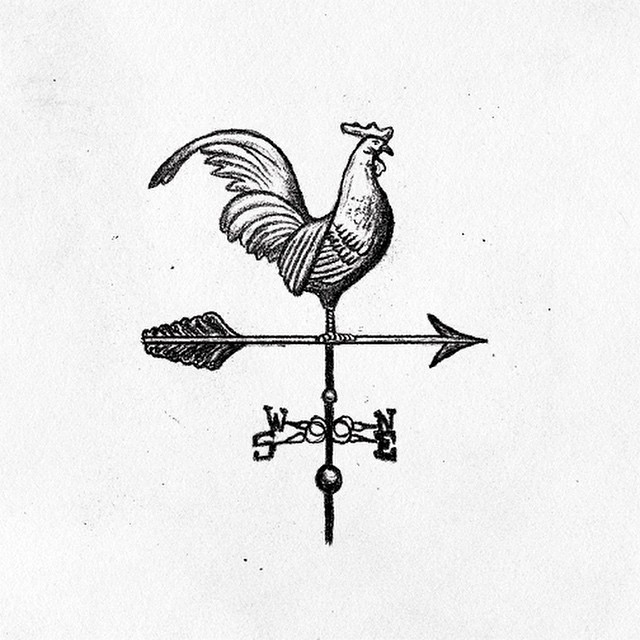 Drawn rooster rooster weathervane In my sketch a a