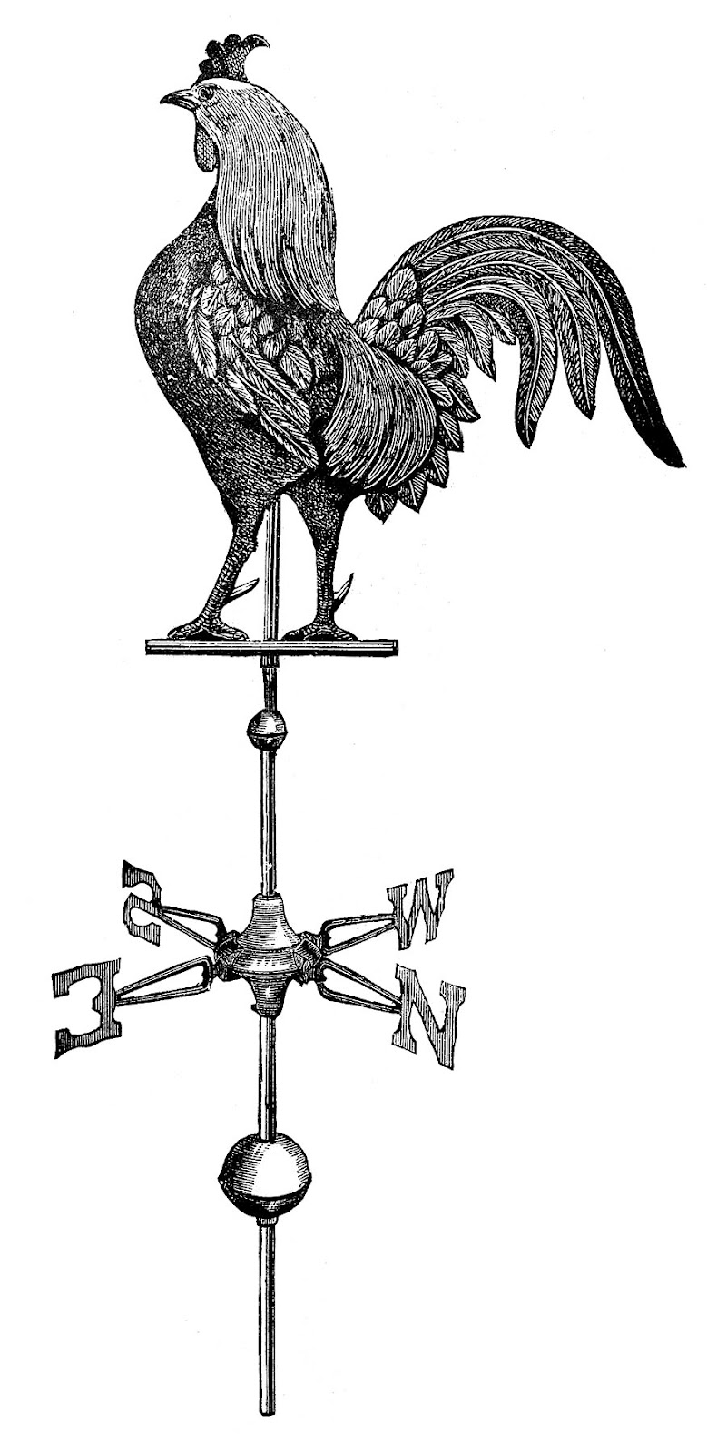 Drawn rooster rooster weathervane Weather Vane  Running Weather