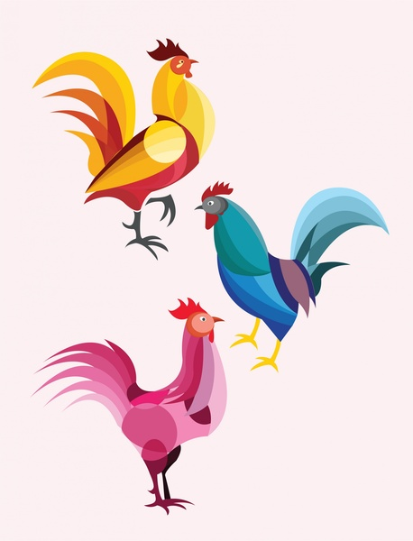 Drawn rooster vector #11