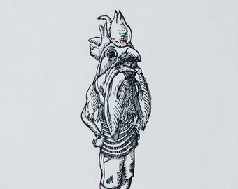Drawn rooster woodcut #1