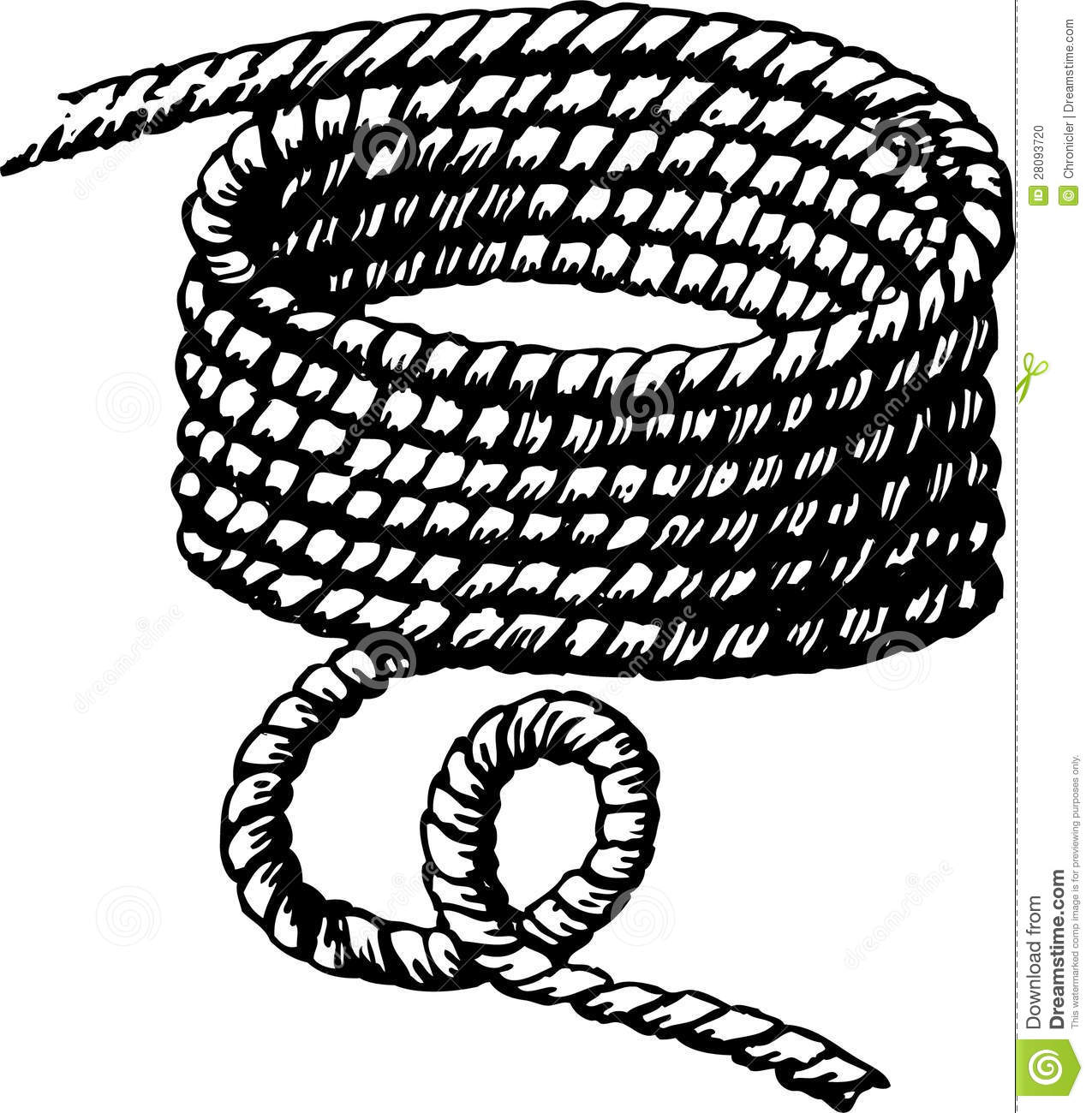 Drawn rope The twisted woodburning the Vector