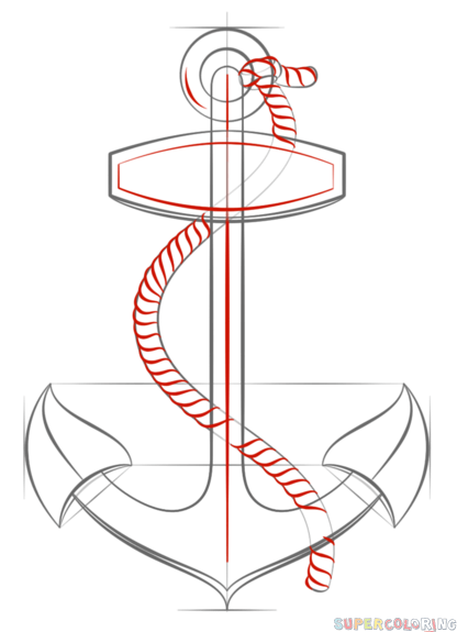 Drawn rope anchor rope With How by Drawing to