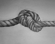 Drawn rope black and white In
