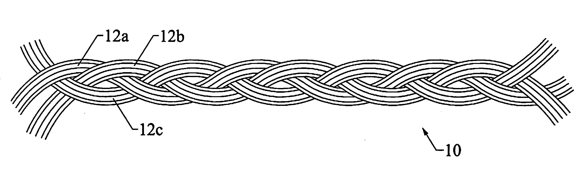 Drawn rope braided rope Patent Drawing handles bag US20090120270