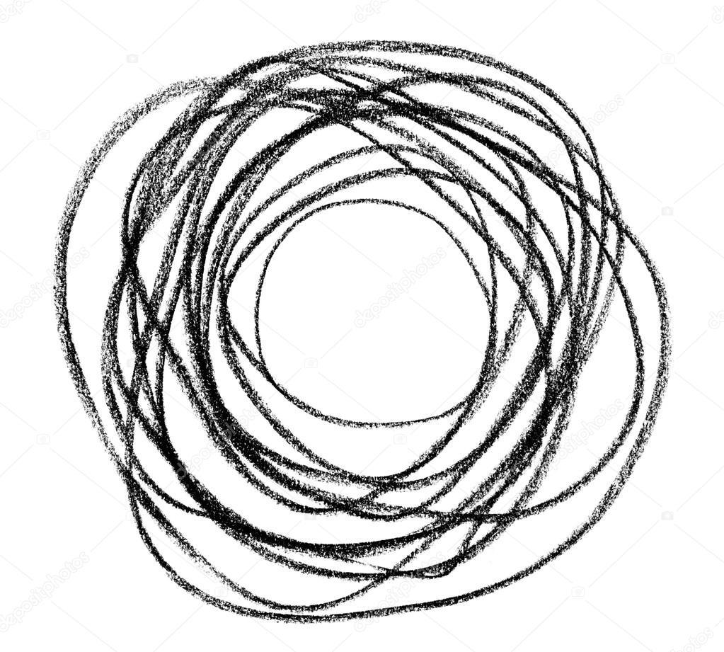 Drawn rope circular White Hand doodle — circular