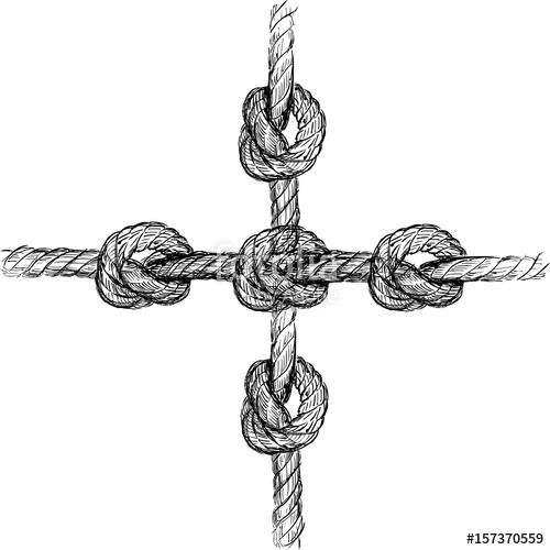 Drawn rope cross Rope vector  Hand knot