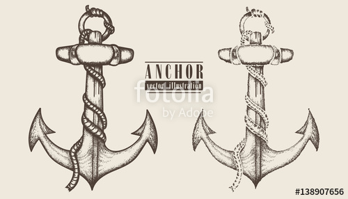 Drawn rope graphic Anchor anchor Vintage and drawn