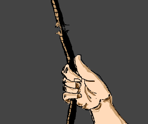 Drawn rope hand holding Cliche on rope break (drawing