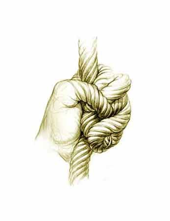 Drawn rope hand holding Best with morphing 16 Hand
