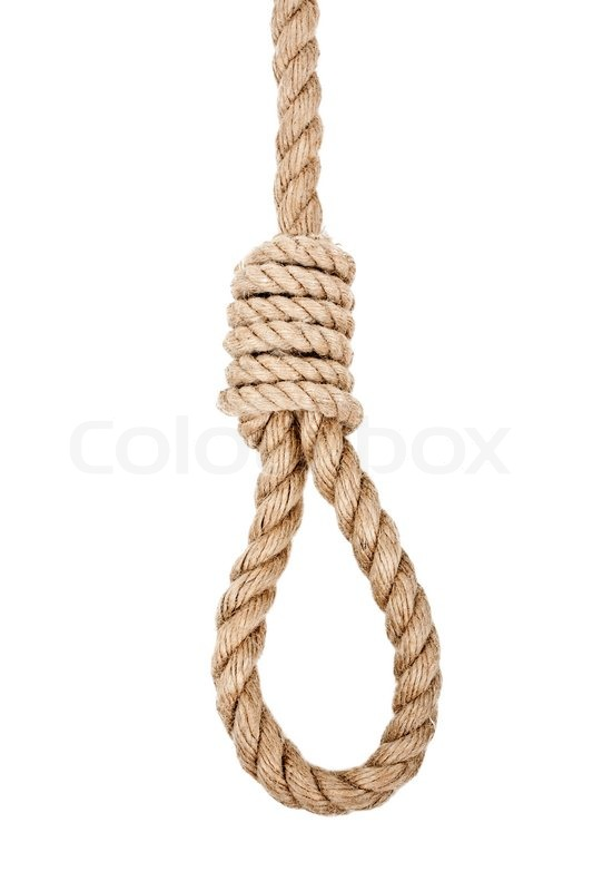 Drawn rope hanging Isolated white tied hanging isolated