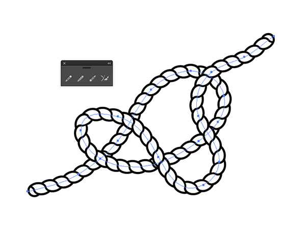 Drawn rope knotted rope Brush transform apply Use shape