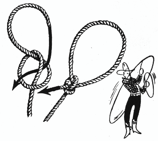 Drawn rope lasso Loop untied by for Knots