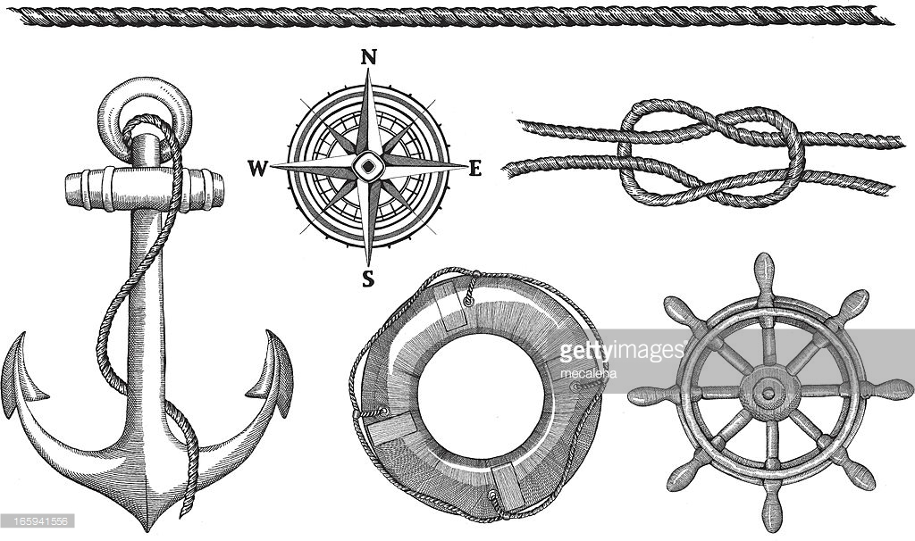 Drawn rope life ring Anchor ink drawing life
