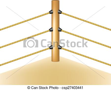 Drawn rope ring vector Ring with brown ropes with