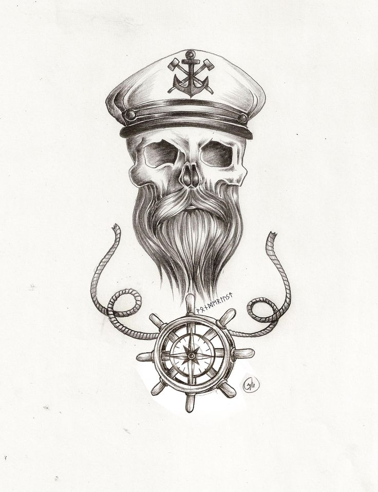 Drawn anchor skull Beard Traditional sketch tattoo rope