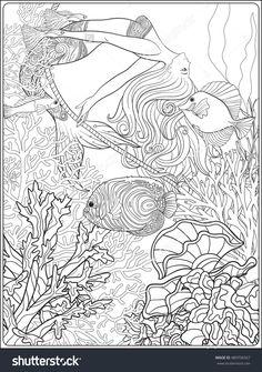 Drawn rope underwater Hanging mermaid on Male drawn