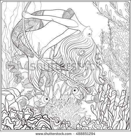 Drawn rope underwater On mermaid on Rope drawn