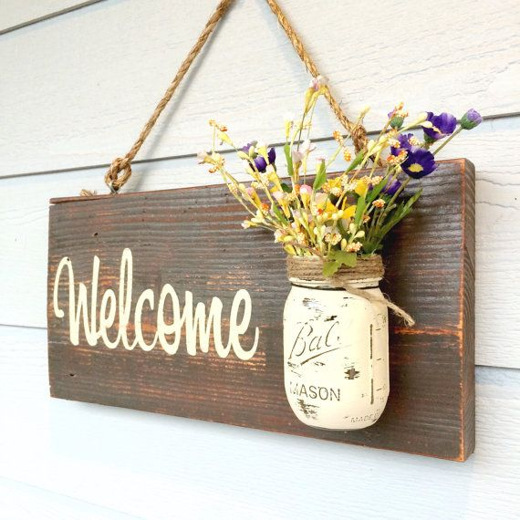 Drawn rope wooden sign ( and Hand the Welcome