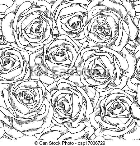 Drawn rose background Hand csp17036729 of and Roses