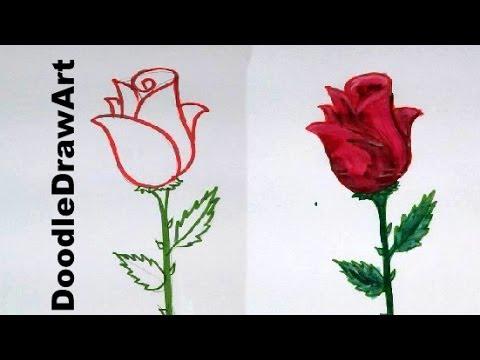 Drawn rose beginner Easy Draw cartoon step rose