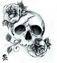Drawn rose black and white With style tattoo skull pen