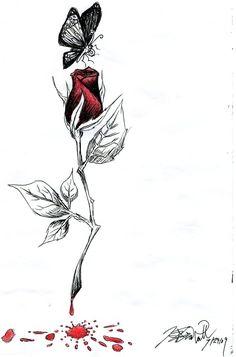 Drawn rose bleeding rose Girl design on rose bleeding