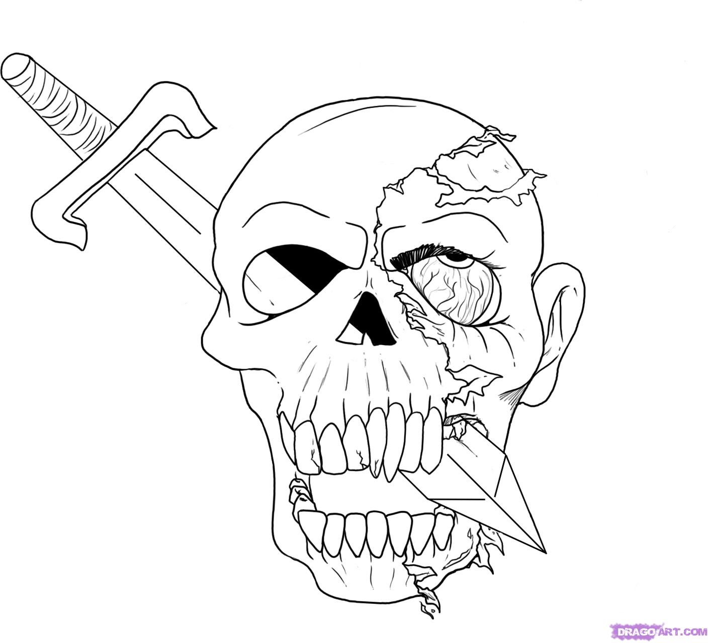 Drawn skull epic A how How step Step