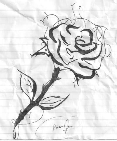 Drawn rose blood dripping Black & Teen black
