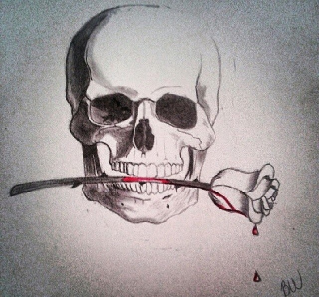 Drawn rose blood dripping Detailed rose dripping Skull Braion