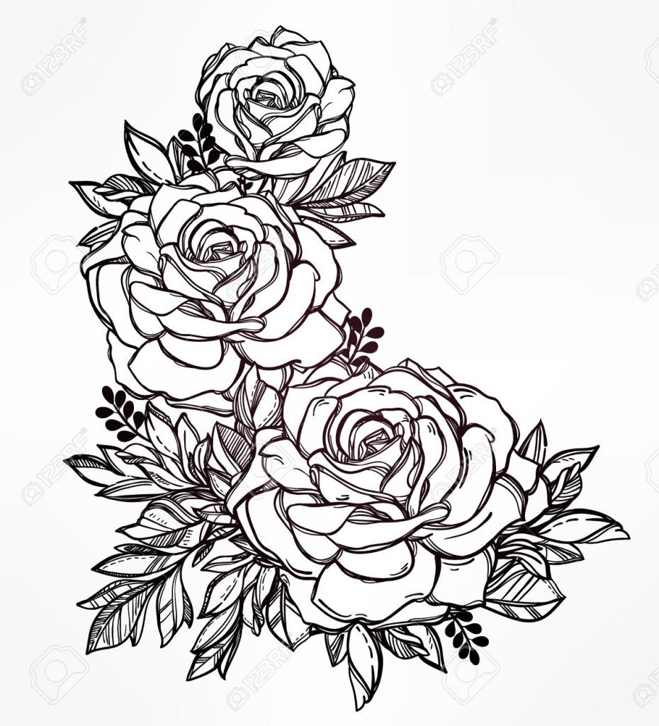 Drawn rose bunch rose Flower Hand Of Bunch Flower