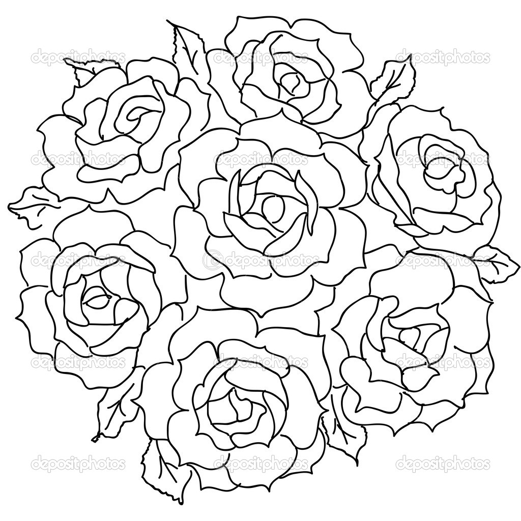 Drawn rose bunch rose Draw Flowers Bunch  Bunch